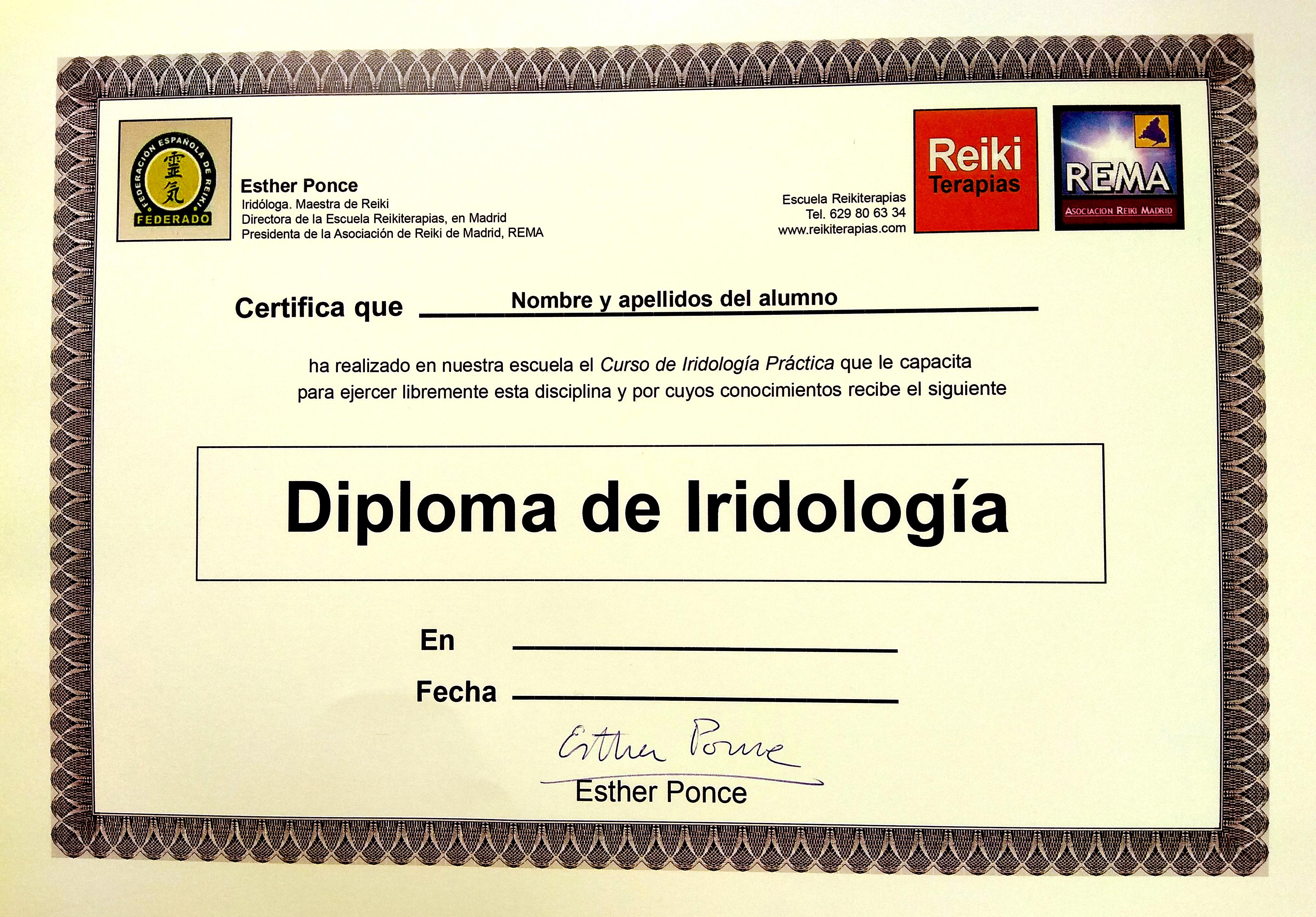 cursos iridología madrid, diploma escuela reikiterapias